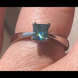 Princess cut blue diamond .61 carat